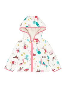 Girls Gymkhana Print Hooded Reversible Fleece