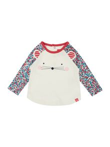 Girls Mouse Face Long Sleeved Raglan Top