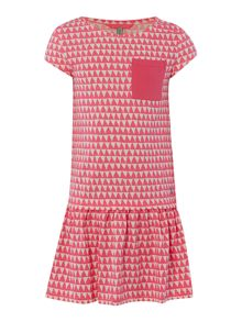 Joules Girls Bunting print short sleeved frill hem dress