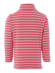Girls Striped half zip funnel sweatshirt