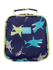 Boys Shark Print Lunch Bag And Lunch Box