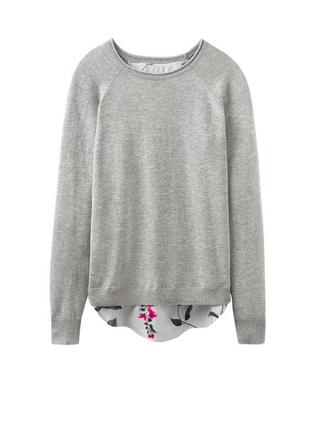 Joules Jumper With Woven Shirt Hem