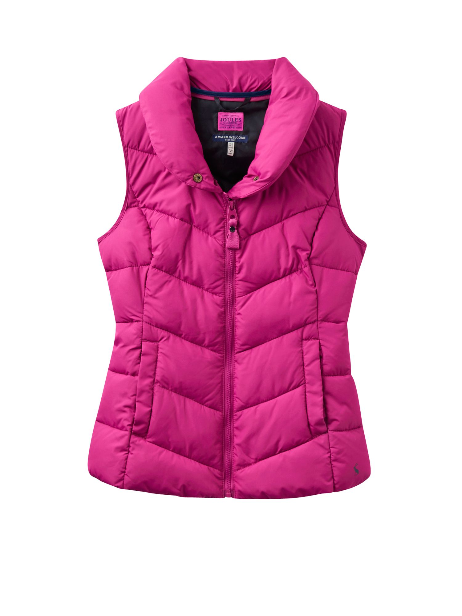 Joules Padded High Neck Gilet, Pink