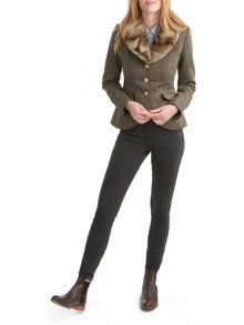 Joules Faux Fur Collar Tweed Blazer