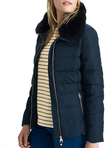 Joules Padded jacket with faux fur trim