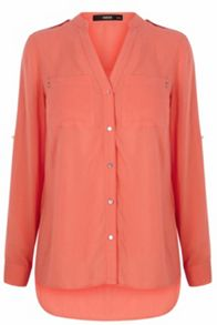 Viscose Piped Roll Sleeve Shirt