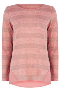 Lurex Stripe Woven Mix Sweat