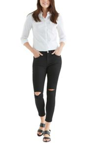 Black ripped isabella crop jeans
