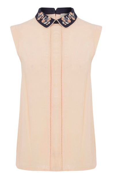 Oasis Embroidered Collar Shell Top