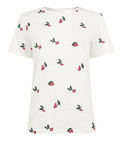 Cherry Embroidered Tee