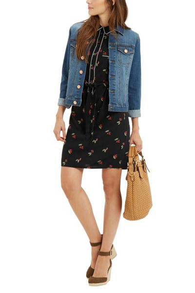 Oasis Cherry Piped Shirt Dress