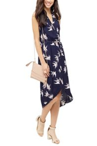 Oasis Bird Wrap Midi Dress