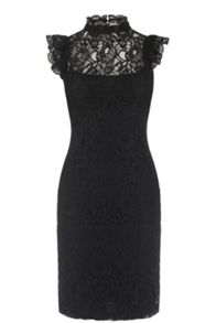 Oasis Lace Ruffle Neck Dress