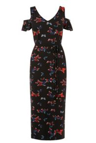 Oasis Butterfly Print Cold Shoulder