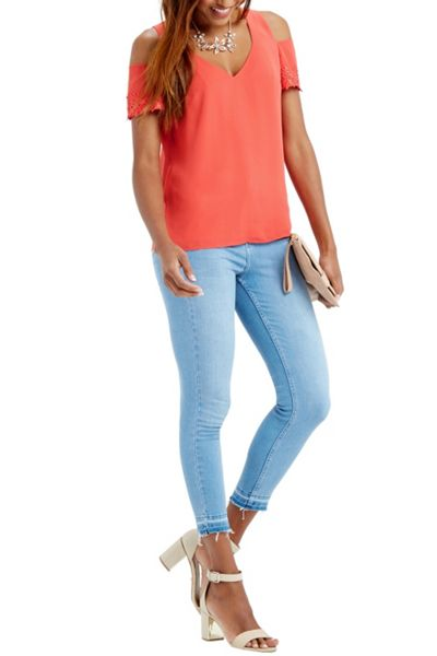 Oasis Lace Cuff Cold Shoulder Top