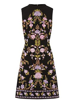 Embroidered High Neck Dress
