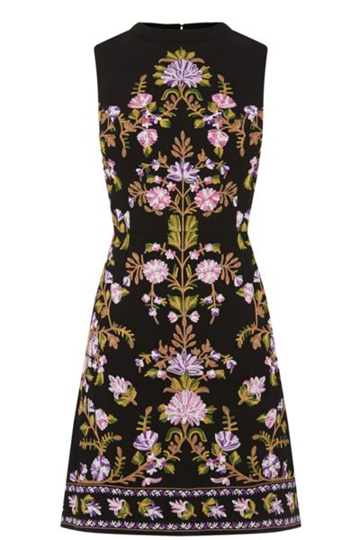 Oasis Embroidered High Neck Dress