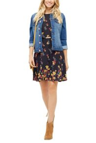 Oasis Border Floral High Neck Skater