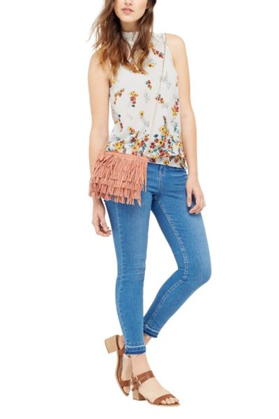 Oasis Border Floral High Neck Shell