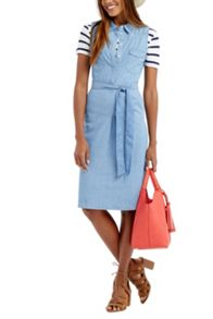 Oasis Chambray High Neck Dress