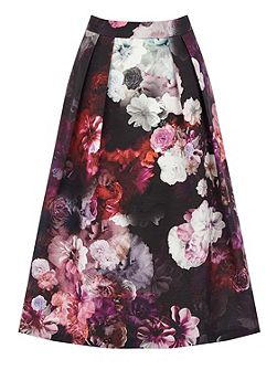 Winter Floral Midi Skirt