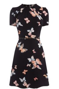 Oasis Butterfly Viscose Skater Dress