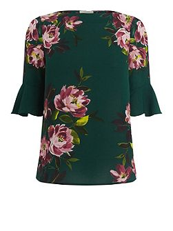 Painted Rose Fluted Sleeve Top