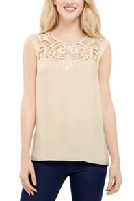 Oasis Lace Yoke Wrap Back Tee