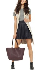 Oasis Pleated Faux Leather Skirt