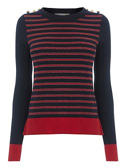 Lurex Stripe Military Knit