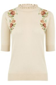 Oasis Embroidered Frill Knit