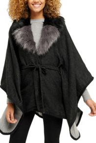 Oasis Reversible Fur Collar Belted W