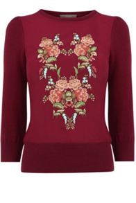 Oasis Embroidered Flower Knit