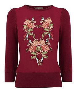 Embroidered Flower Knit