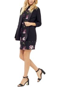 Oasis Painted Rose Jacquard Dress