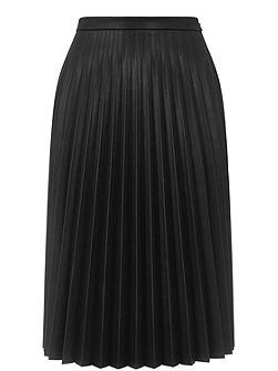 Faux Leather Pleat Midi Skirt