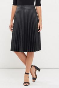 Oasis Faux Leather Pleat Midi Skirt
