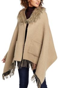 Oasis Rvrsbl Fringed Fur Collar Wrap