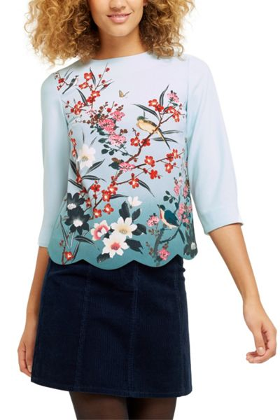 Oasis Heather Placement Scallop Top