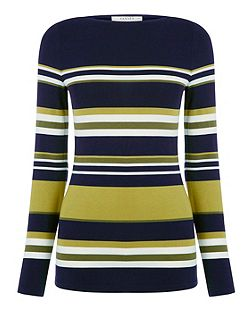 Military Stripe Boatneck Dress