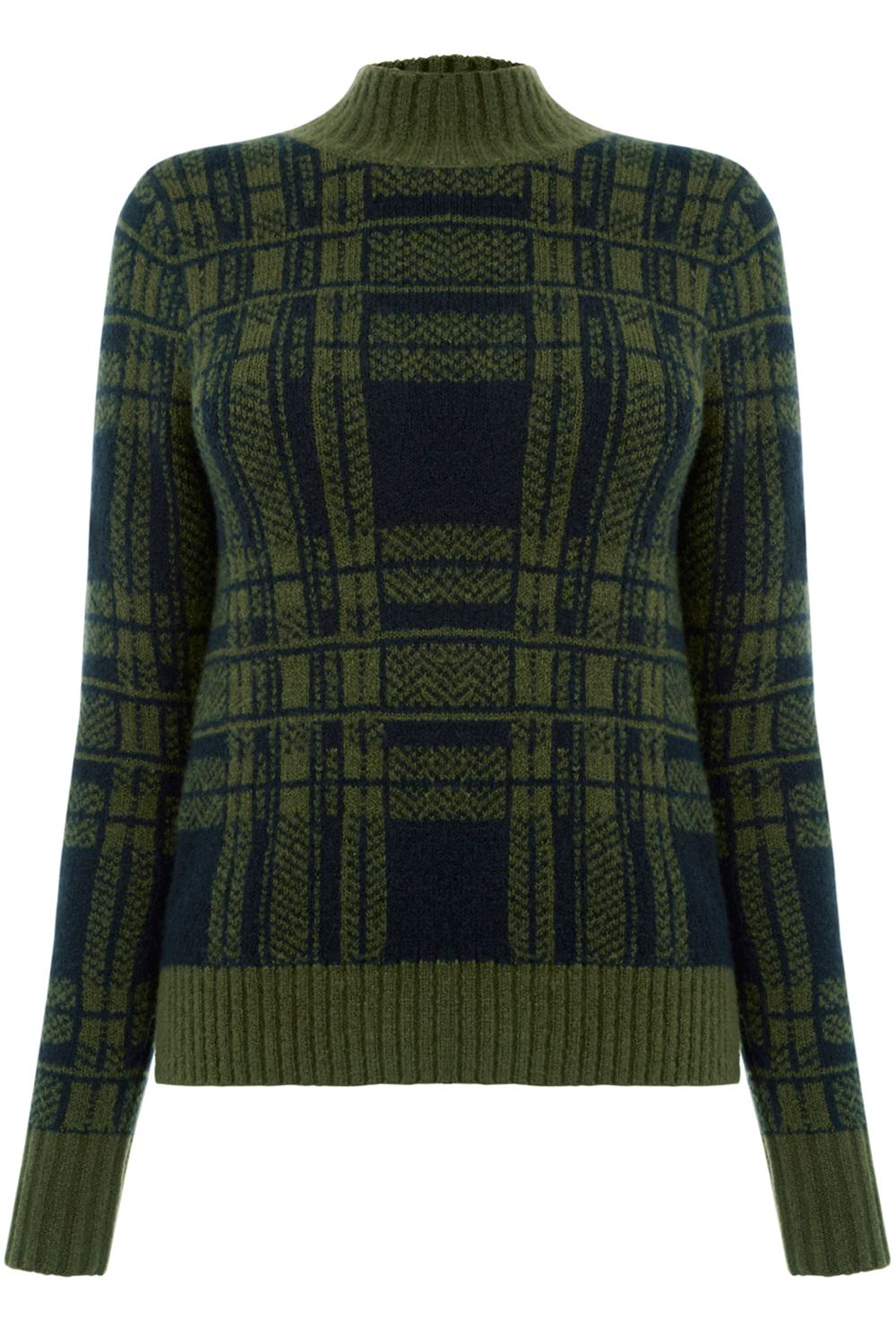 1960s Style Sweaters & Cardigans Oasis Military Check Jumper Khaki £38.00 AT vintagedancer.com