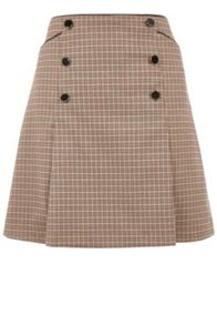 Oasis Check Pleated Skirt