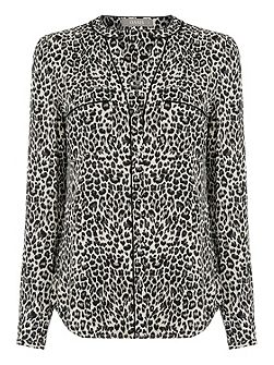 Animal Viscose Wrap Back Shirt