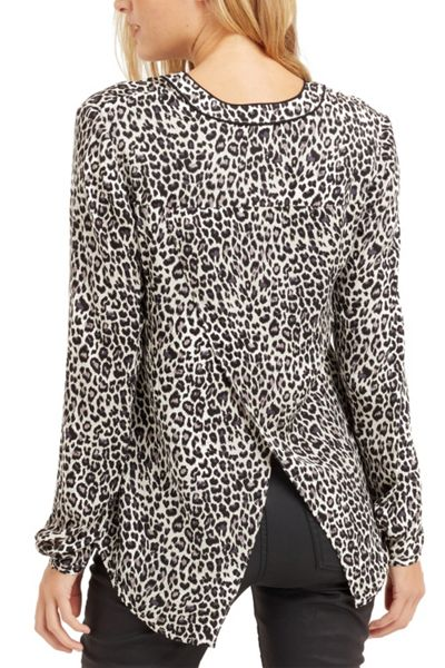 Oasis Animal Viscose Wrap Back Shirt