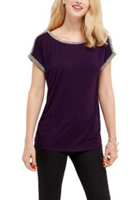 Oasis Embellished Roll Sleeve Tee
