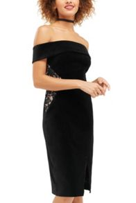 Oasis Lace And Velvet Bardot Dress