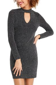 Oasis Glitterball Notch Neck Dress