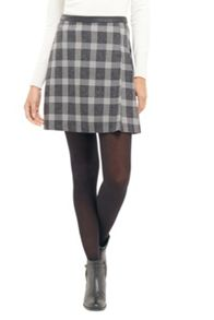 Oasis Salt & Pepper Check Skirt