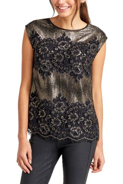 Oasis Metallic Lace Top