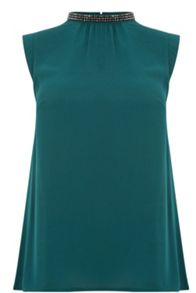 Oasis Embellished Pleat Back Top
